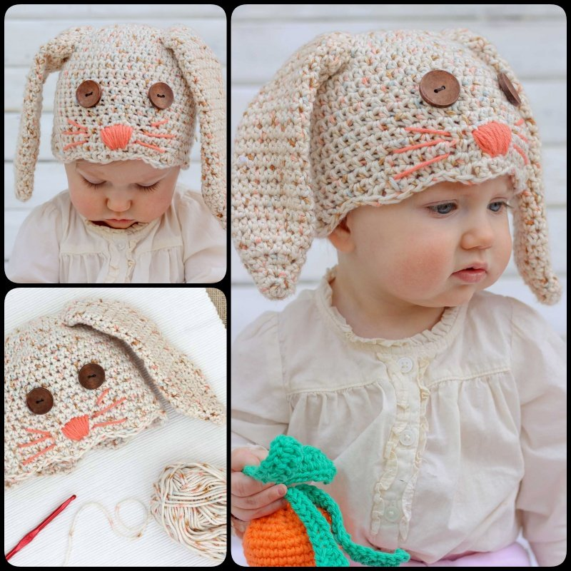 Free Crochet Bunny Hat Pattern Newborn Toddler Cool Creativities