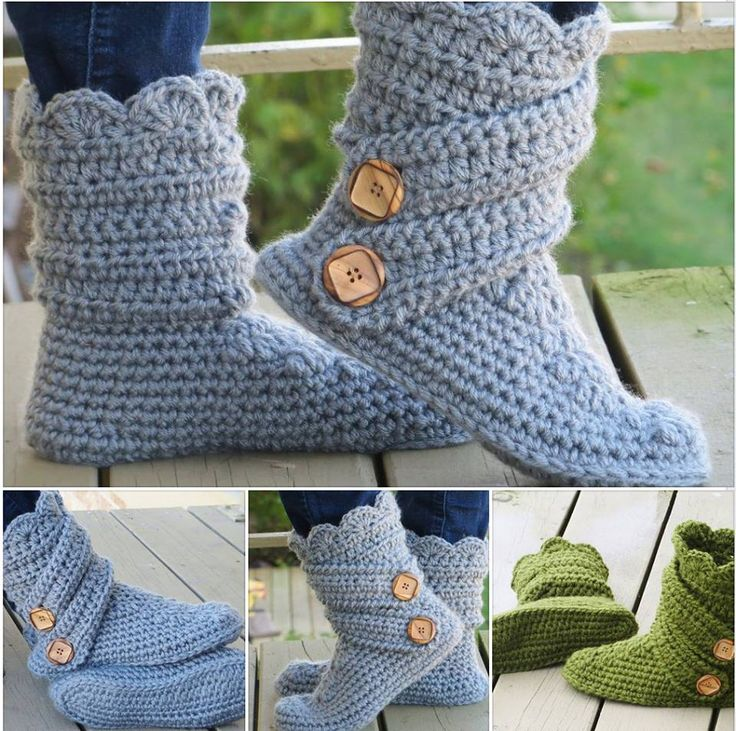 Womans Slipper Crochet Boots With Pattern