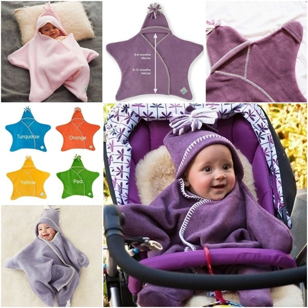 Cute Star Fleece Baby Wrap Design