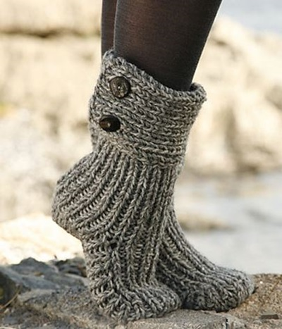 DIY 8 Knitted & Crochet Slipper Boots Free Patterns -Knitted Moon Socks