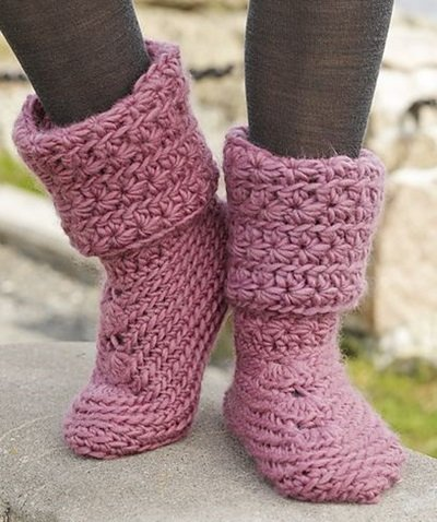 DIY 8 Knitted & Crochet Slipper Boots Free Patterns-Crochet Sweet Spirited