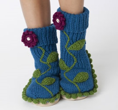 DIY 8 Knitted & Crochet Slipper Boots Free Patterns-Floral Embellished Slipper Socks