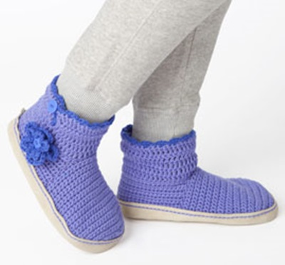 DIY 8 Knitted & Crochet Slipper Boots Free Patterns-Convertible Slipper Booties