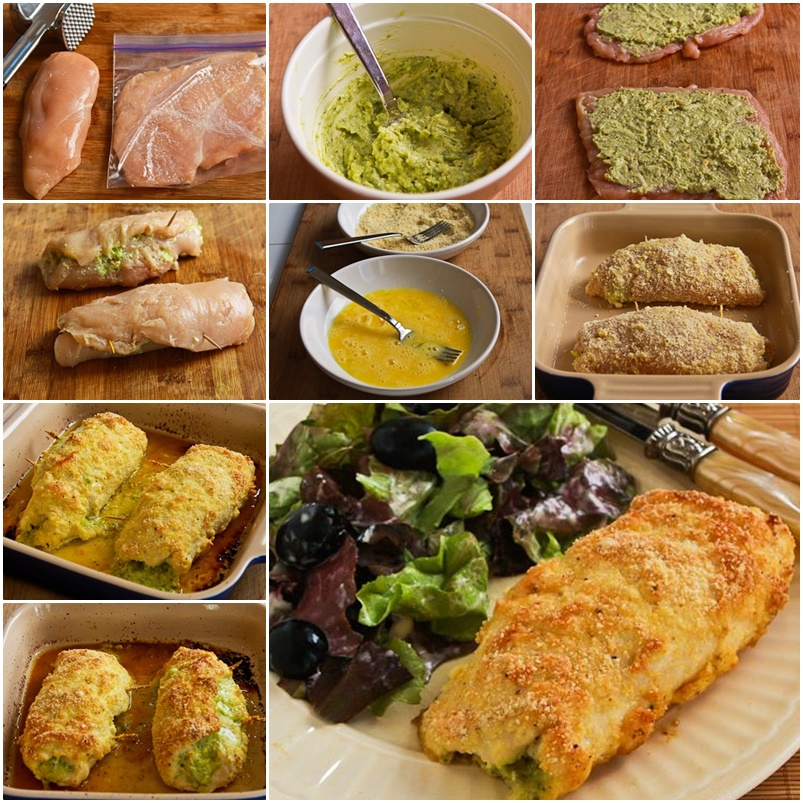 DIY Baked Chicken Stuffed with Pesto and Cheese
