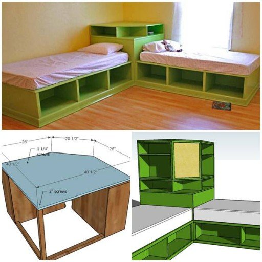 & DIY Corner Unit for the Twin Storage Bed - Space Saving Idea