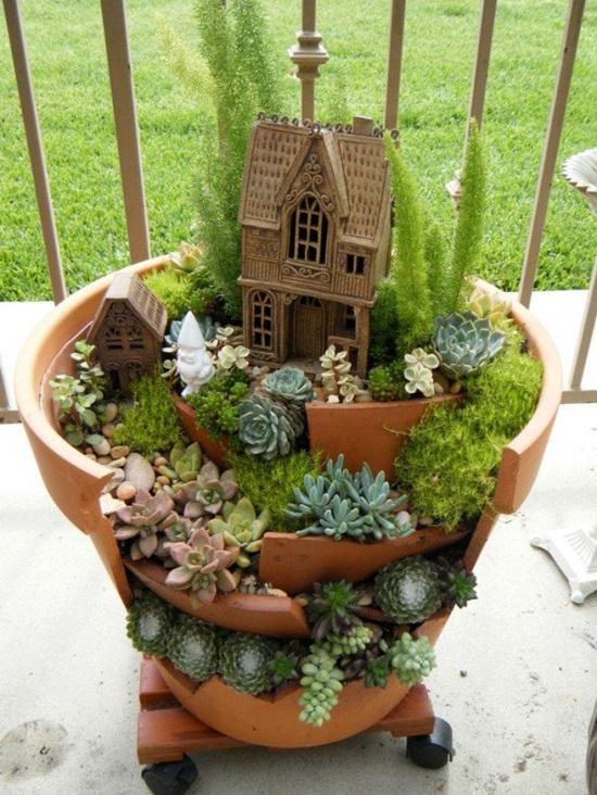Diy fairy mini garden from broken pots 02