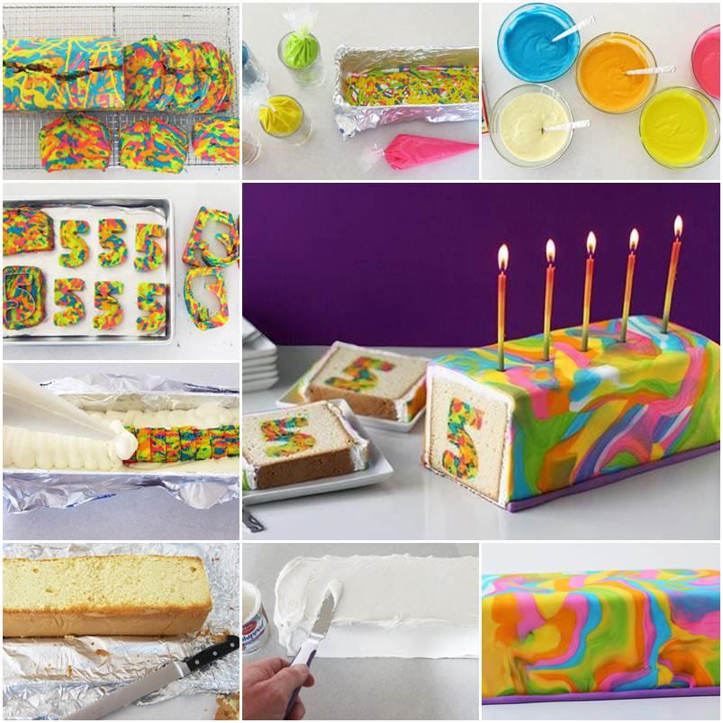 DIY Rainbow Tie Dye Surprise Cake