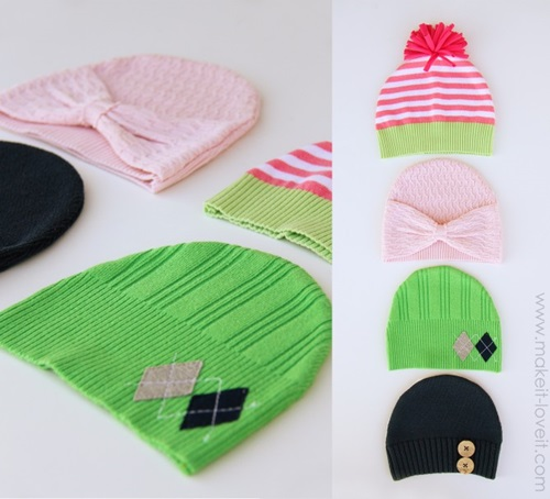 Hats made from Old Sweaters