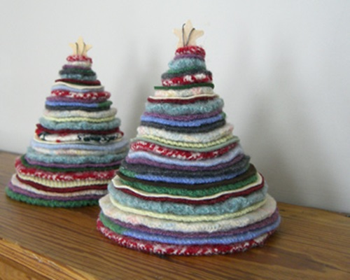 Holiday Trees from old sweater