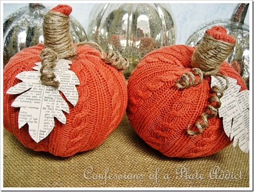Easy Sweater Pumpkins from old sweater