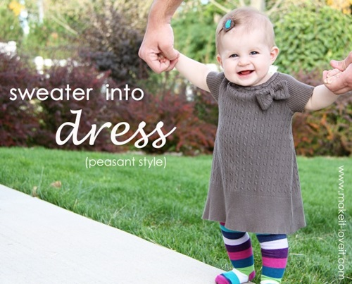Old Sweater into Short Sleeve Dress
