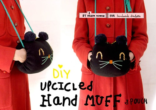 DIY kitty hand warmer pocket pouch from old sweater