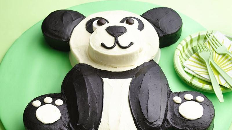 Diy panda bear birthday cake for Panda bear cake template