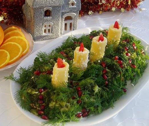 Candle Decorated Christmas Salad-2