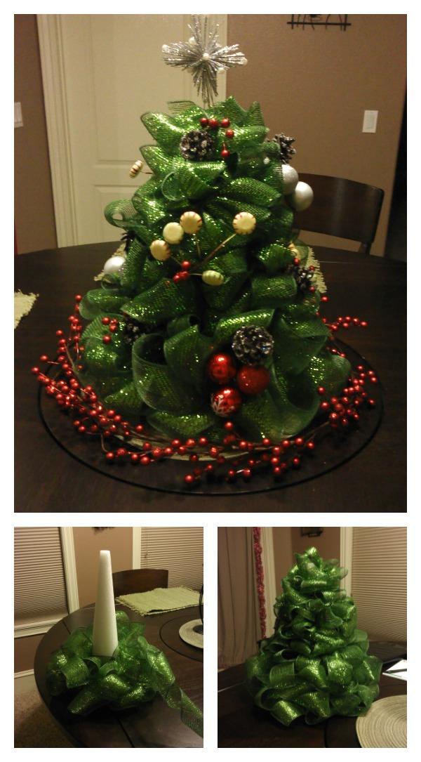 DIY Ribbon Christmas Tree Centerpiece