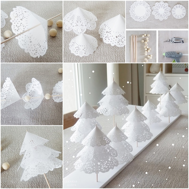 diy paper doilies christmas tree. Black Bedroom Furniture Sets. Home Design Ideas