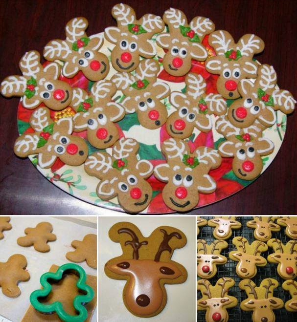 Turn your gingerbread men upside down and they become adorable Reindeer Cookies