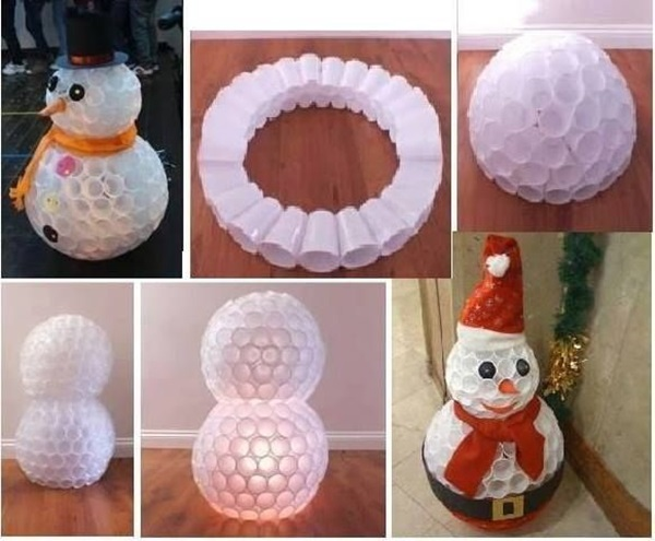 Diy snowman using plastic cups for Snowman made out of cups