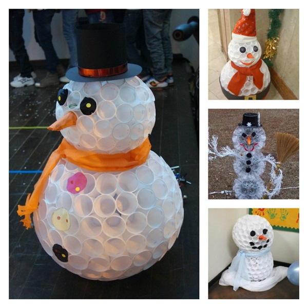 DIY Snowman Using Plastic Cups