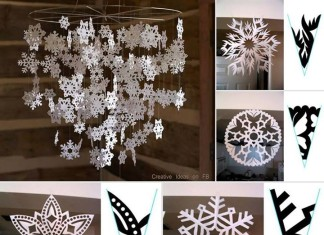 DIY Pretty Paper Snowflake Mobile with Template
