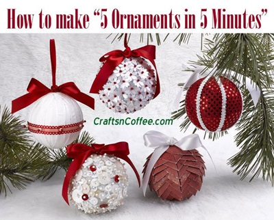 5 Christmas ornaments in 5 minutes
