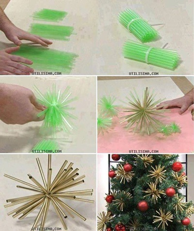 50 Creative DIY Christmas Ornament Ideas and Tutorial-Beautiful Gold Christmas Ornaments From Straws