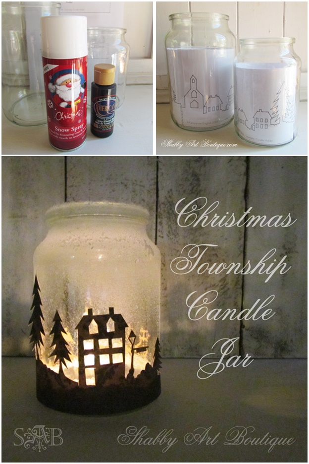 DIY Christmas Township Candle Jar