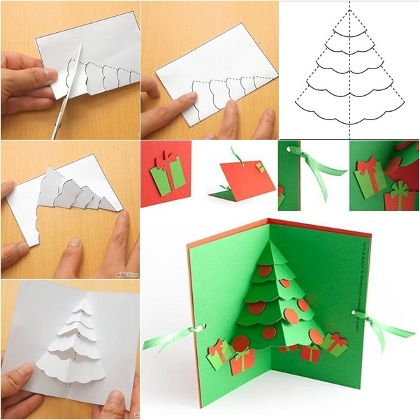 diy christmas tree pop up greeting card. Black Bedroom Furniture Sets. Home Design Ideas