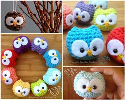 50 Creative DIY Christmas Ornament Ideas and Tutorial- Crochet Baby Owl Ornaments