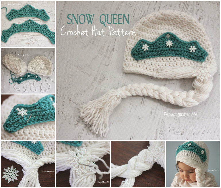 DIY Crochet Snow Queen Hat with Free Pattern