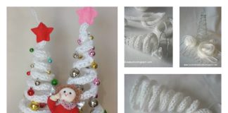 DIY French Knitting Christmas Tree Shaped Ornaments