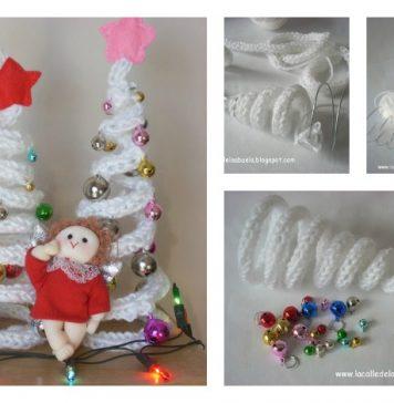 DIY French Knitting Christmas Tree Shaped Ornaments