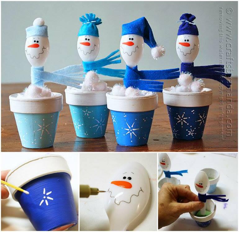 DIY Plastic Spoon Snowmen