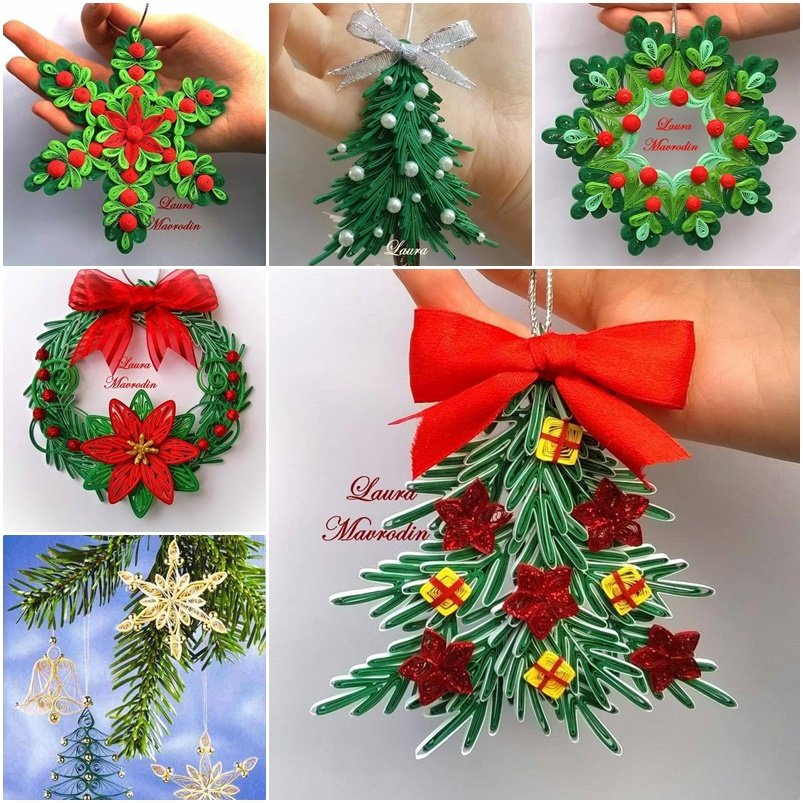 Diy quilling christmas decoration for Decoration quilling