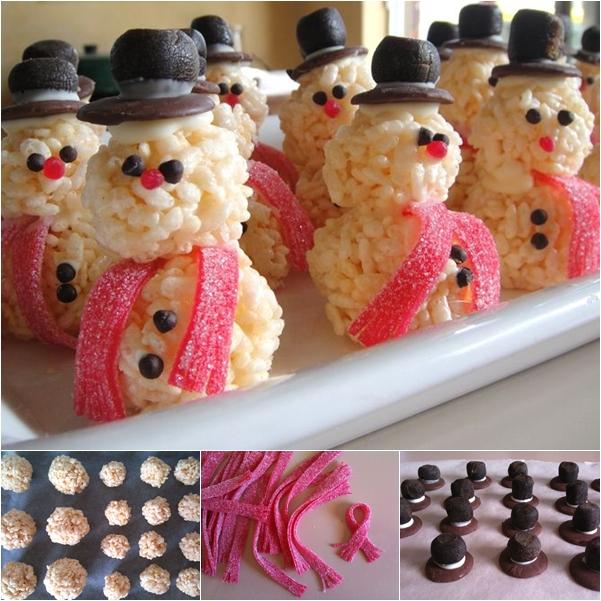 DIY Rice Krispie Snowman Christmas Treat