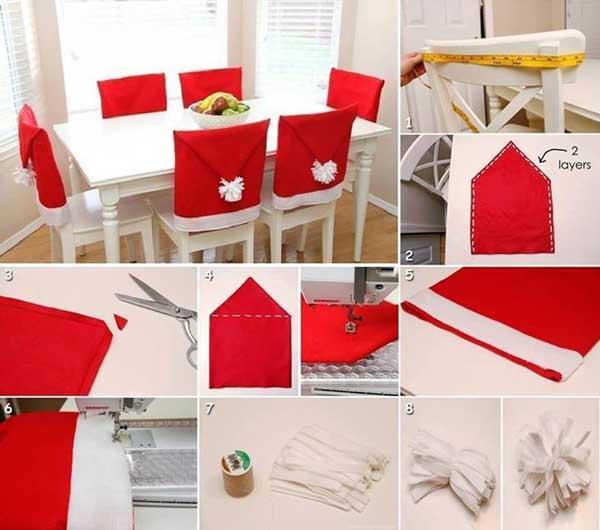 DIY Santa Hat Chair Covers