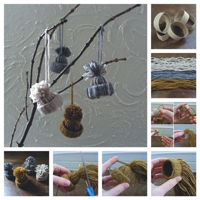 50 Creative DIY Christmas Ornament Ideas and Tutorial- Winter Hat Christmas Ornaments Made from Toilet Paper Roll Tubes