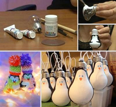 50 Creative DIY Christmas Ornament Ideas and Tutorial-Light Bulb Penguin Ornaments