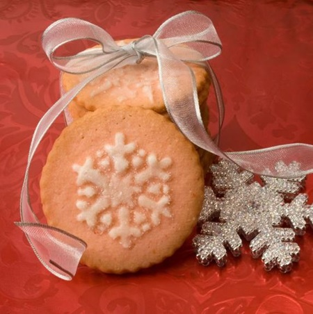 Merry Maraschino Cherry Snowflake Cookies
