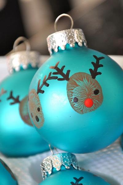 50 Creative DIY Christmas Ornament Ideas and Tutorial-Reindeer Thumbprint Ornaments