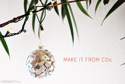 50 Creative DIY Christmas Ornament Ideas and Tutorial-mosaic ornaments from cds