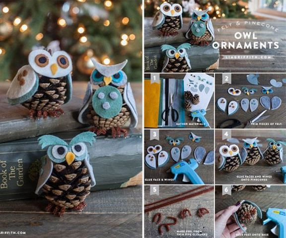 DIY Felt and Pine Cone Owl Ornaments