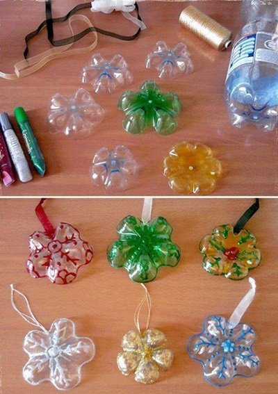 50 Creative DIY Christmas Ornament Ideas and Tutorial-Plastic Bottles Into Snowflake Ornaments