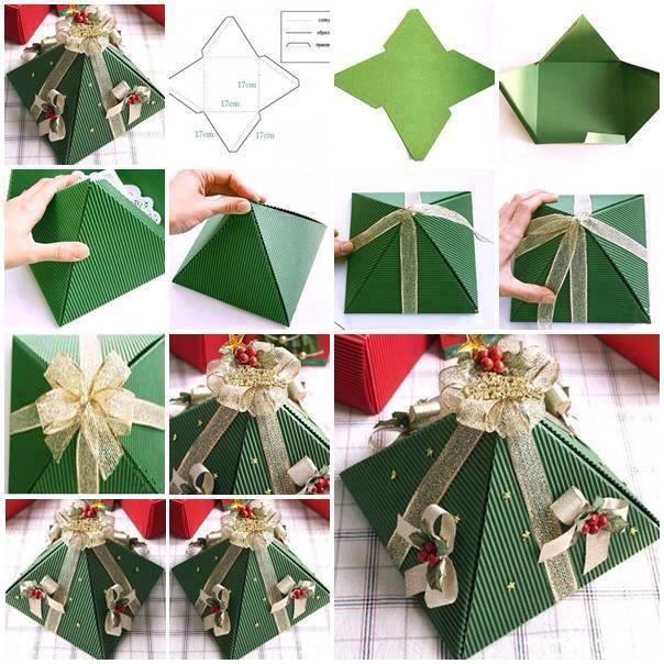 DIY Christmas Tree Gift Boxes - Pyramid Folding Gift Box