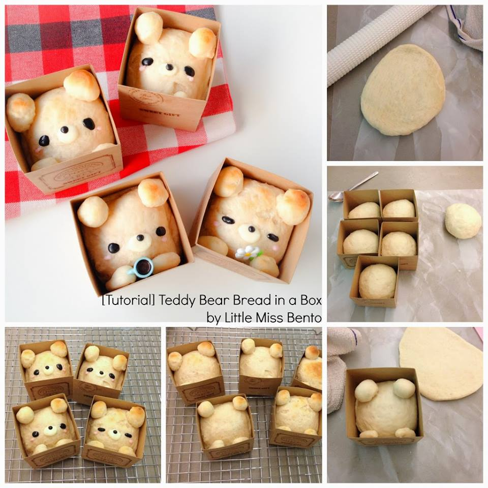 How to shape your bread buns into cute Teddy Bear in a Box
