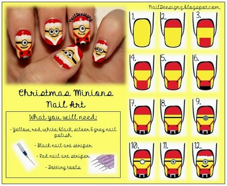 Christmas Minion Nails art