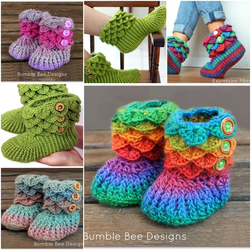 How to Make Crocodile Crochet Boots to Keep You Warm