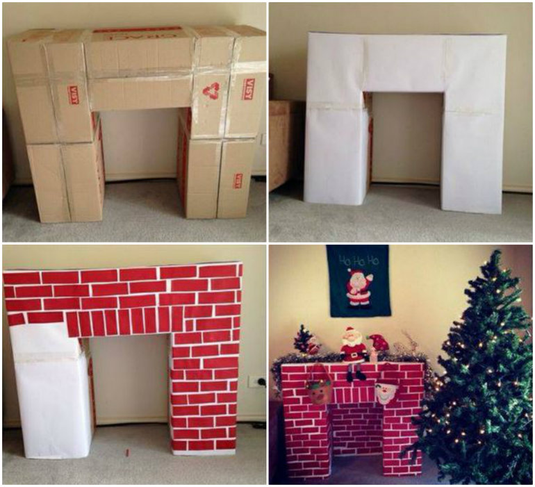 DIY Cardboard Christmas Fireplace