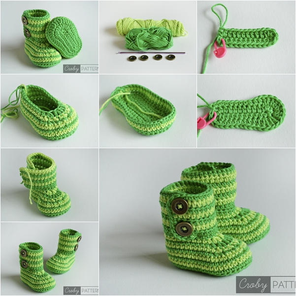 Crochet Baby Booties : DIY Green Zebra Crochet Baby Booties with Free Pattern -