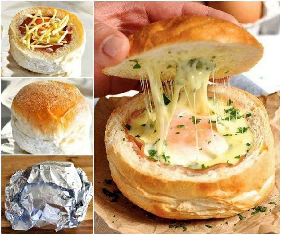 DIY Ham, Egg and Cheese Bread Bowls